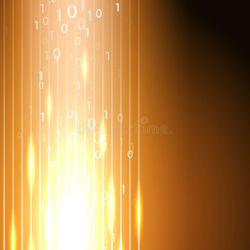Fondo anaranjado con la corriente del código binario stock de ilustración
