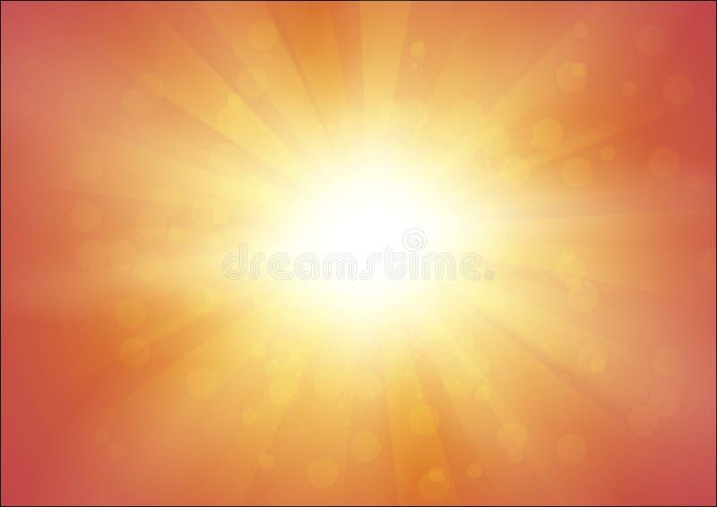 Fondo anaranjado con la sol y el flash con los rayos - ejemplo abstracto del vector en el formato A4 ilustración del vector