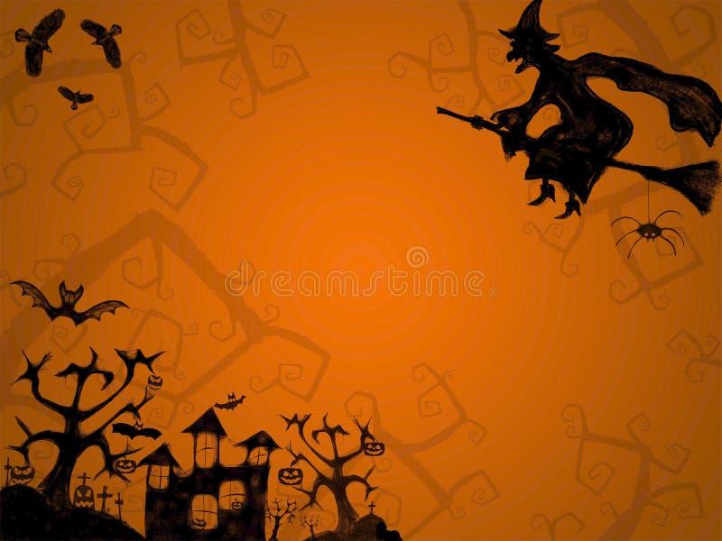 Fondo anaranjado de Halloween con la bruja fotos de archivo libres de regalías