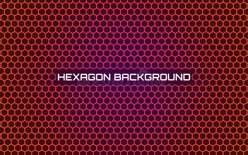 Fondo anaranjado del hexágono Diseño geométrico abstracto brillante Plantilla moderna con textura del panal Pendiente futurista libre illustration