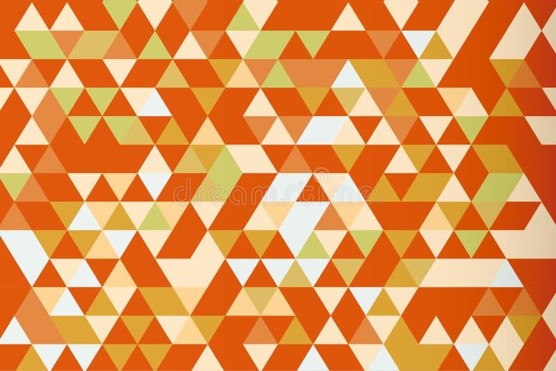 Fondo anaranjado del vector de la prisma del triángulo del mosaico, tono caliente stock de ilustración