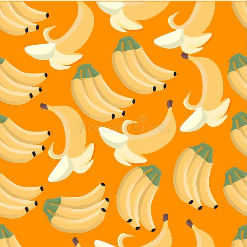 Fondo anaranjado inconsútil con los plátanos stock de ilustración