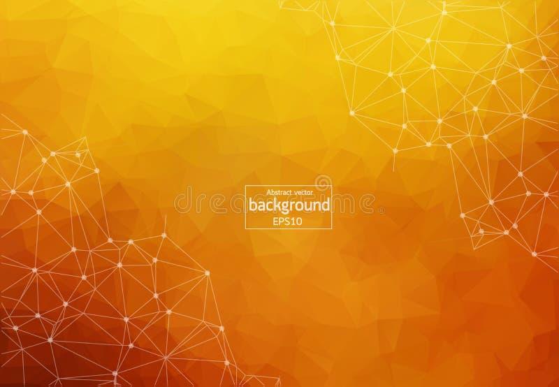 Fondo anaranjado oscuro poligonal del extracto con los puntos y las líneas conectados, estructura de la conexión, fondo futurista libre illustration