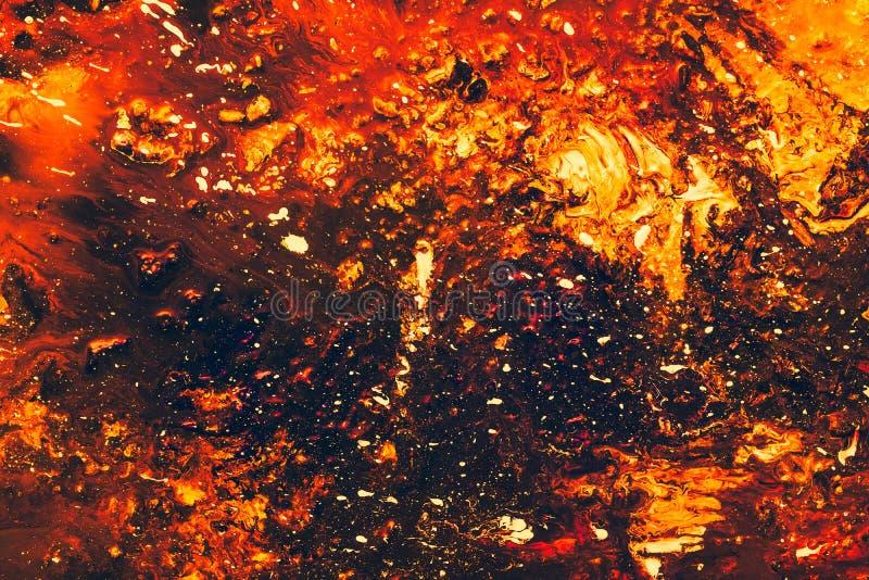 Fondo anaranjado rojo de la pintura de la lava abstracta del volcán imagen de archivo libre de regalías