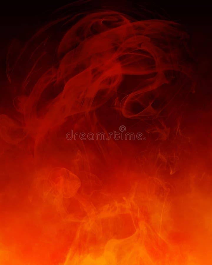 Fondo anaranjado rojo del humo stock de ilustración