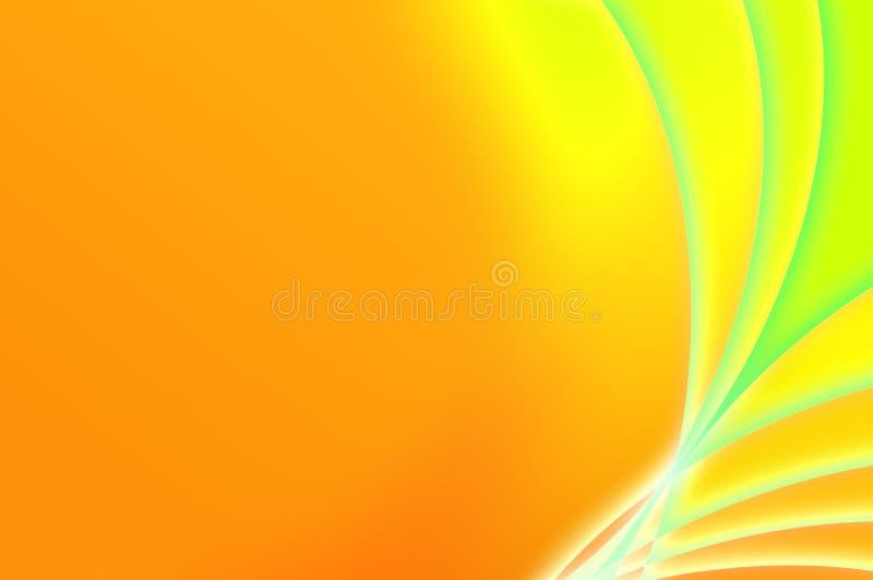 Fondo anaranjado y verde fantástico abstracto stock de ilustración