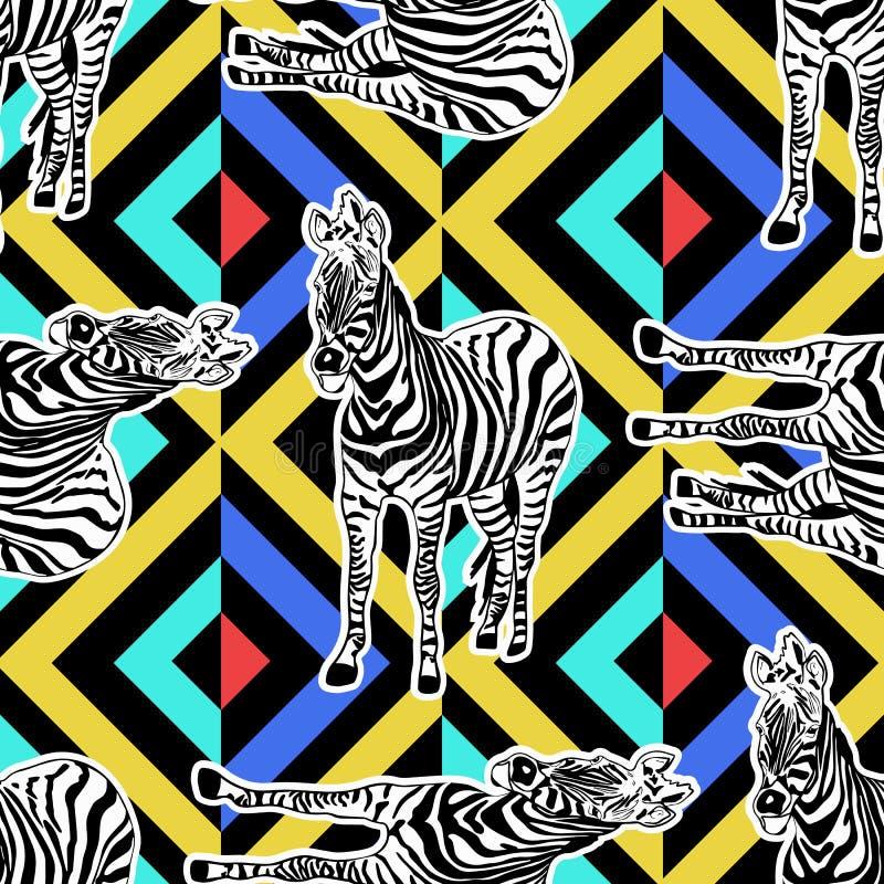 Fondo animal inconsútil pintado a mano abstracto Modelo de la cebra libre illustration