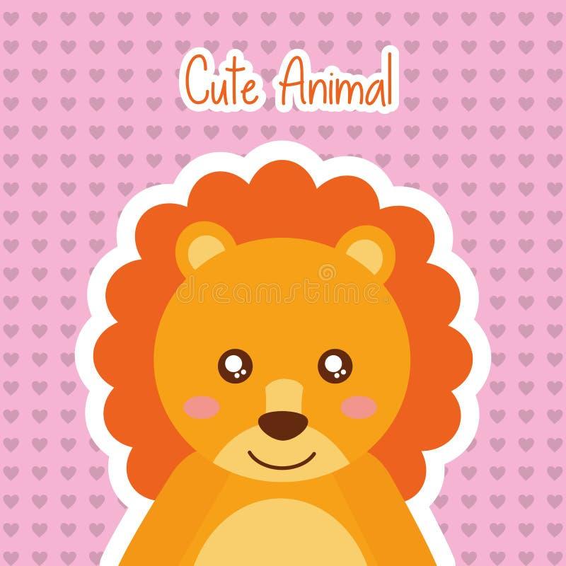 Fondo animal lindo de los corazones del bebé de la fauna del león libre illustration