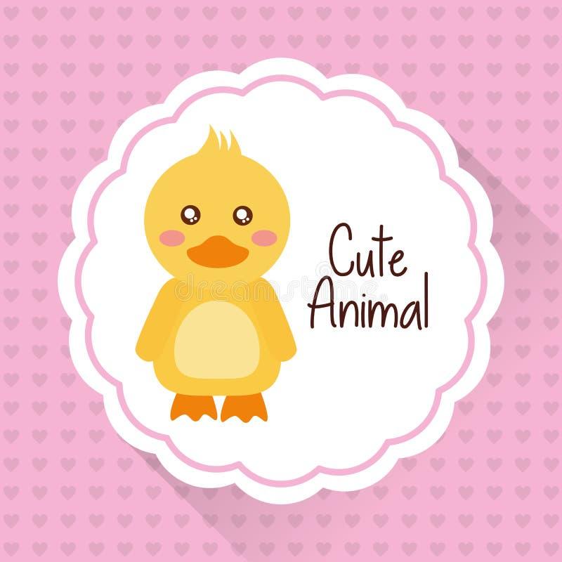 Fondo animal lindo de los corazones de la historieta del pato del bebé stock de ilustración