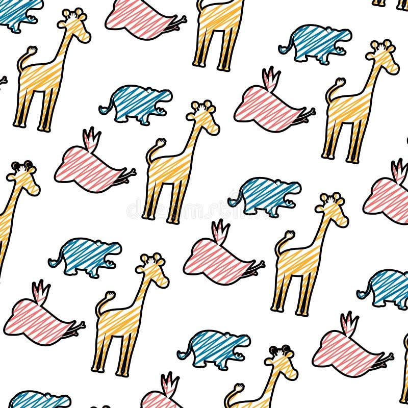 Fondo animal salvaje del safari de la silueta del garabato ilustración del vector