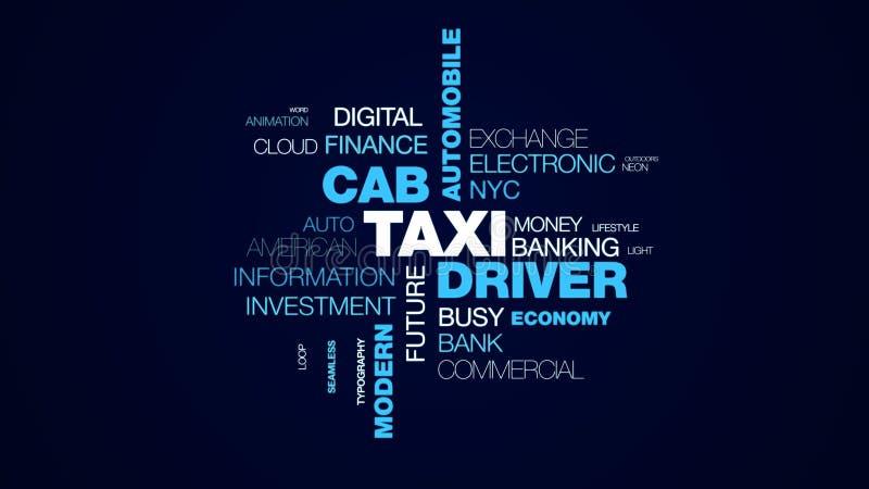 Fondo animato della nuvola di parola di commercio della città dell'automobile della carrozza del tassista del uber moderno metrop royalty illustrazione gratis
