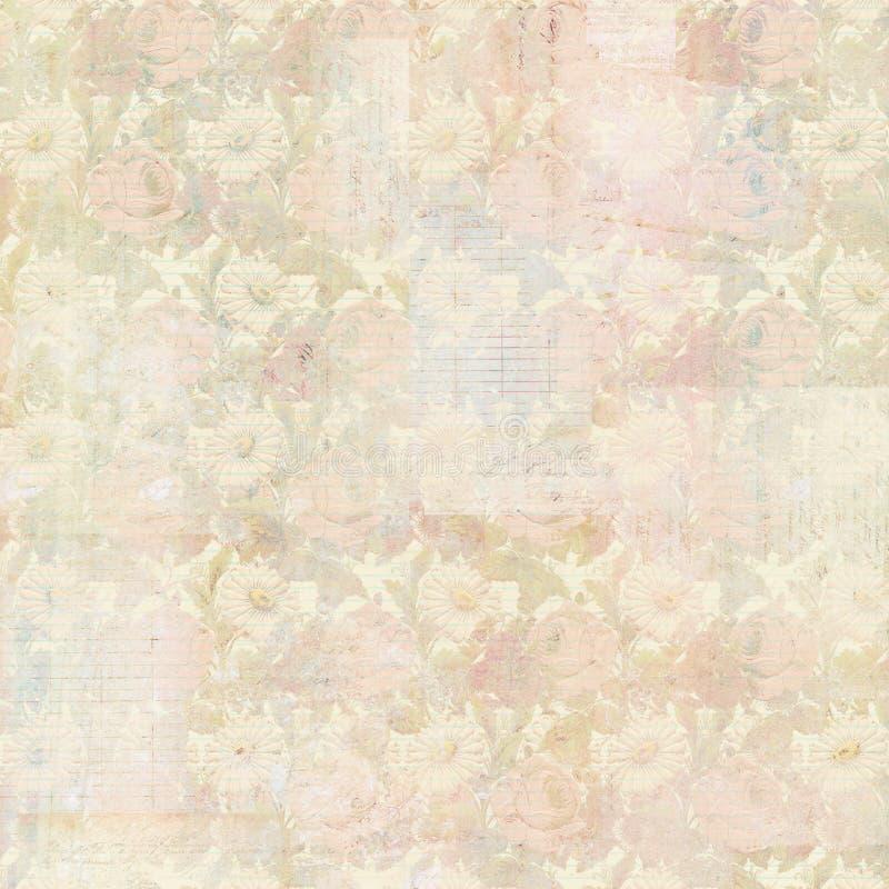 Fondo antico Grungy d'annata del collage con i fiori e cose effimere fotografia stock