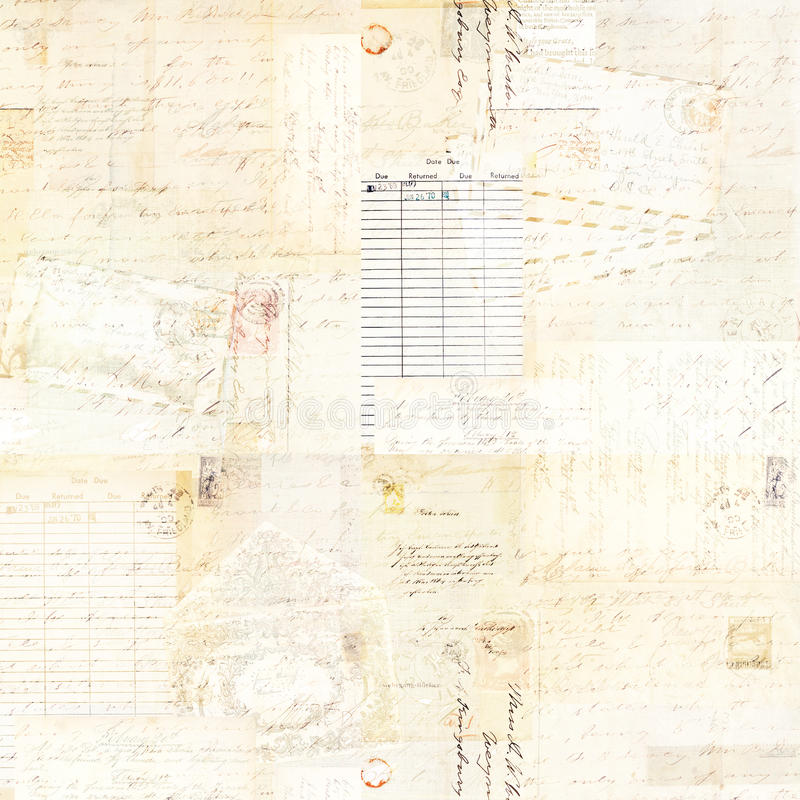 Fondo antico Grungy d'annata dell'acquerello del collage di Brown con testo fotografia stock