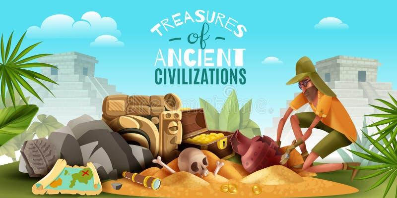 Fondo antiguo de los tesoros de la arqueología stock de ilustración