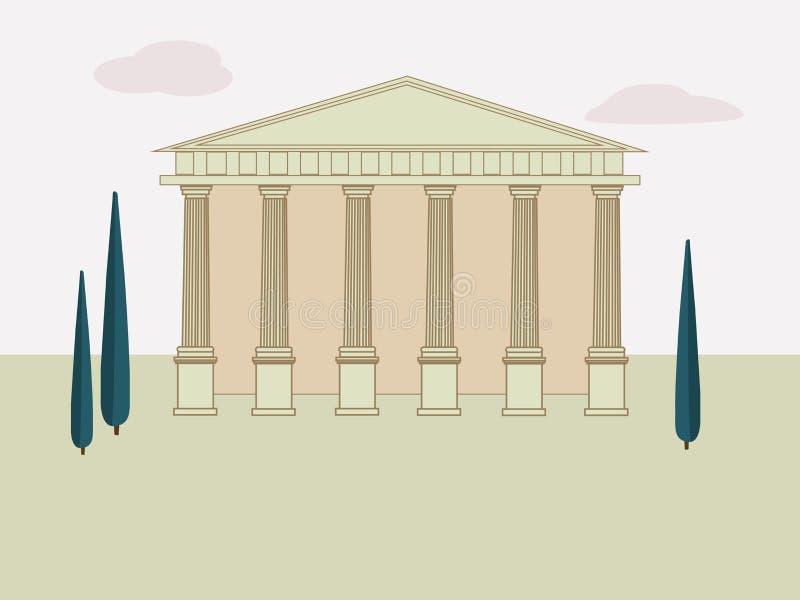 Fondo antiguo de Roma con el templo y los árboles El edificio del griego clásico y de Roman Temple con las columnas Vector ilustración del vector