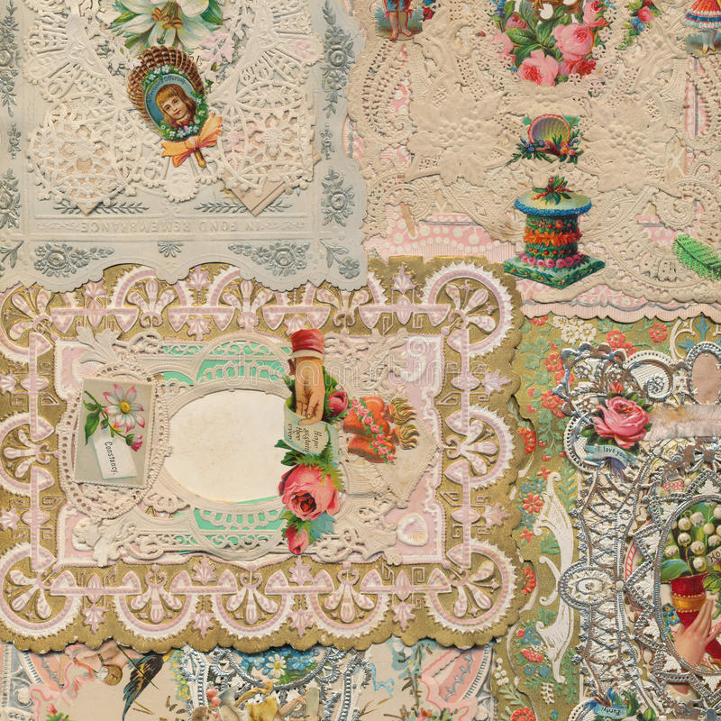 Fondo antiguo del collage de la tarjeta de felicitación del victorian fotografía de archivo