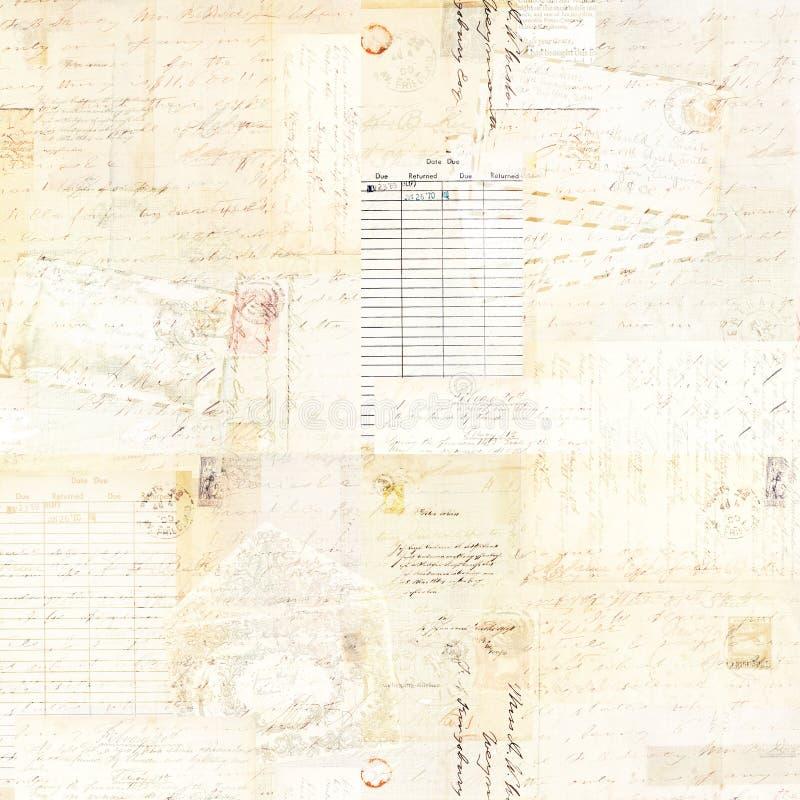 Fondo antiguo sucio de la acuarela del collage de Brown del vintage con el texto fotografía de archivo