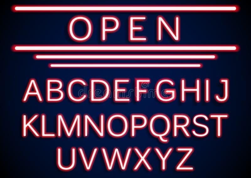 Fondo aperto dei segni del retro neon stabilito illustrazione vettoriale