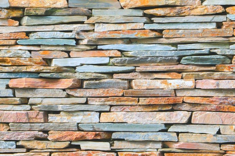 Fondo apilado rayado de las losas de la textura de piedra de la pared de ladrillo fotografía de archivo