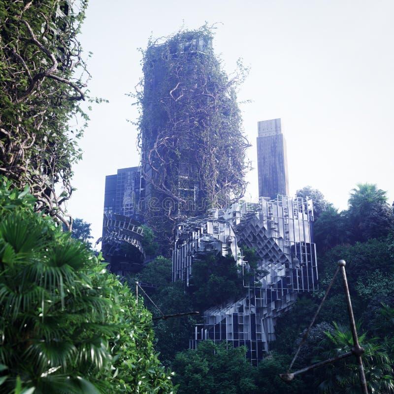 Fondo apocalíptico del concepto de la ciudad futurista y abandonada imagen de archivo libre de regalías