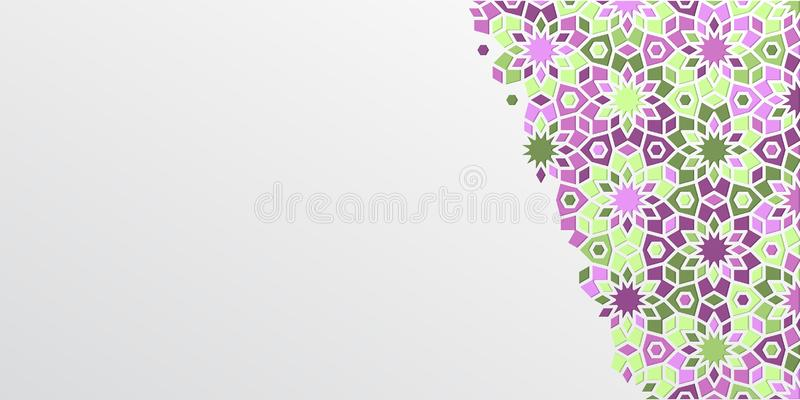 Fondo arabo di progettazione del girih per Ramadan Kareem Dettaglio variopinto ornamentale islamico del mosaico Carta del Ramadan illustrazione vettoriale