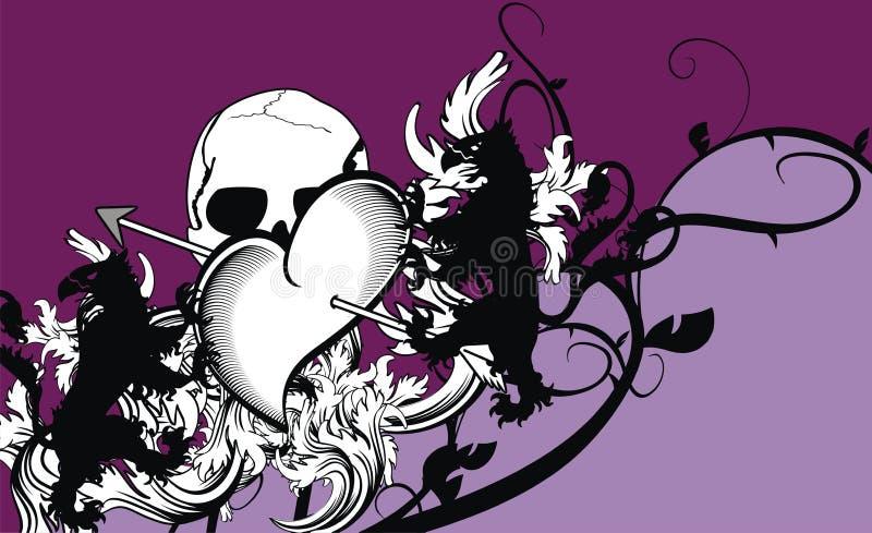 Fondo araldico della cresta delle frecce del cuore illustrazione di stock