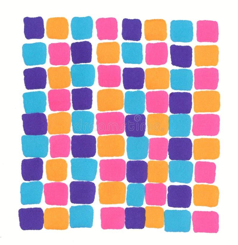 Fondo arancio blu del mosaico di rosa porpora al neon disegnato a mano dell'indicatore illustrazione di stock