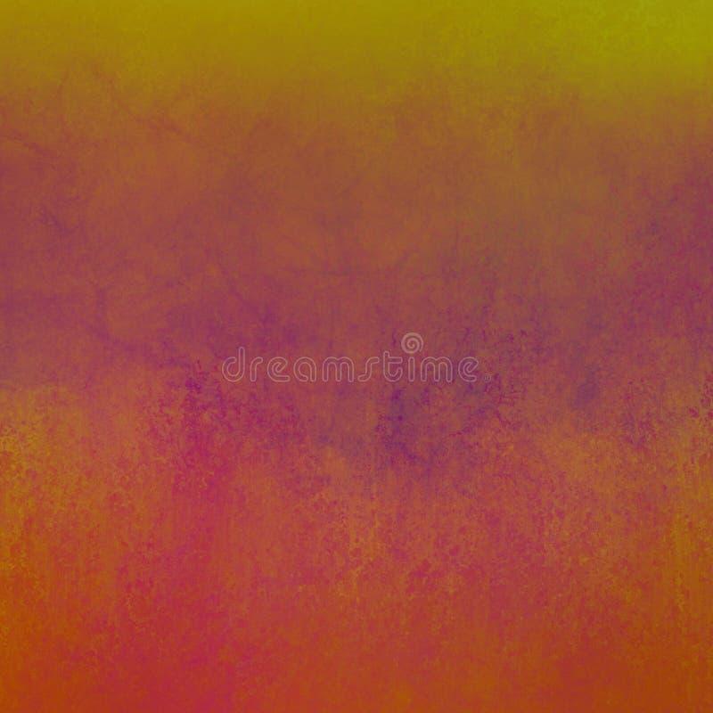 Fondo arancio con le macchie porpora e rosa e confine superiore giallo con il vecchio lerciume d'annata afflitto di struttura nel illustrazione di stock