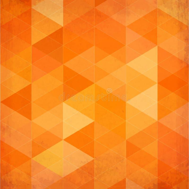 Fondo arancio d'annata dei triangoli astratti illustrazione di stock
