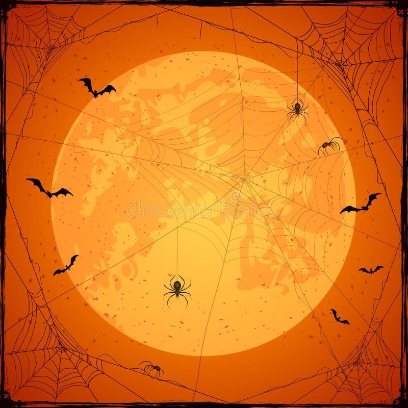 Fondo arancio di lerciume di Halloween con la luna ed i ragni illustrazione vettoriale