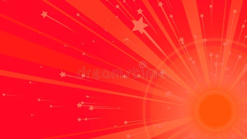 Fondo arancio di Sun in rosso illustrazione vettoriale