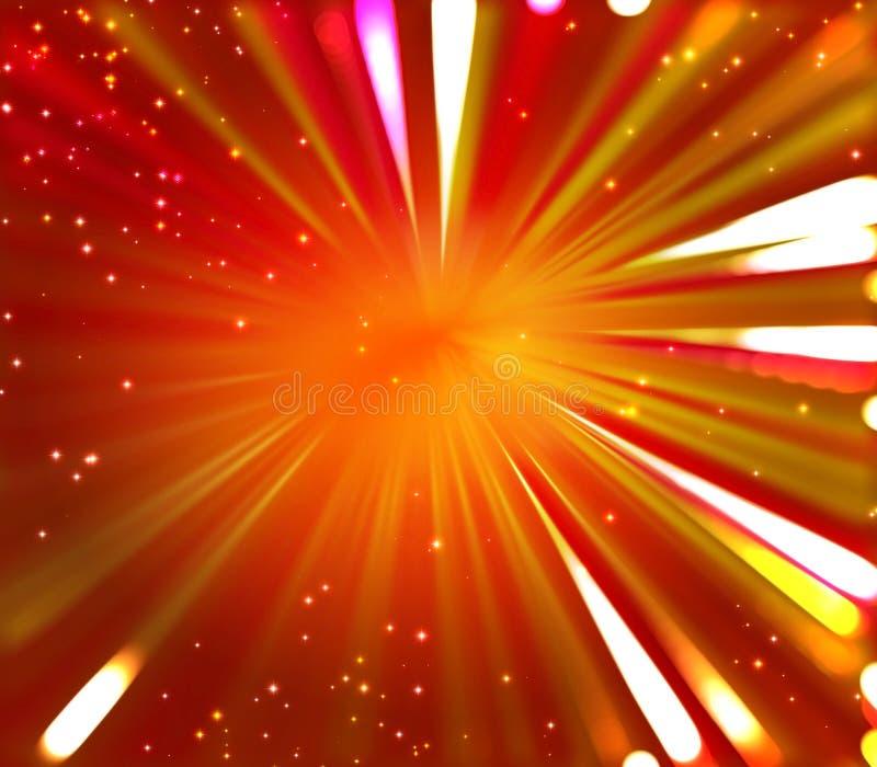 Fondo arancio e giallo rosso con i fuochi d'artificio scoppiati dal centro illustrazione di stock