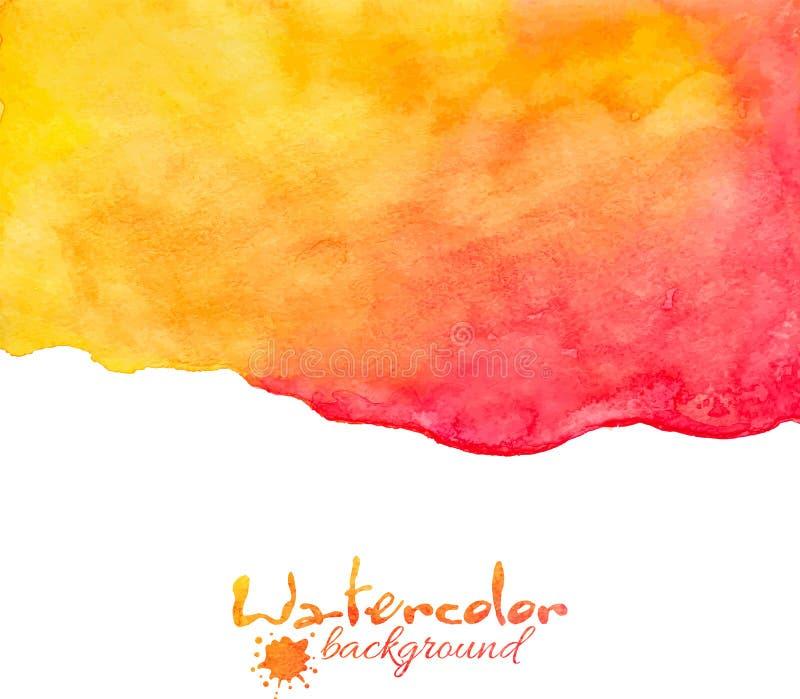 Fondo arancio e rosso di vettore dell'acquerello illustrazione di stock