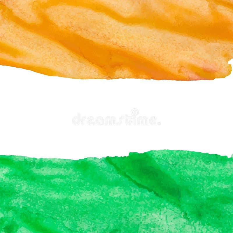 Fondo arancio e verde dell'acquerello dei colpi illustrazione di stock