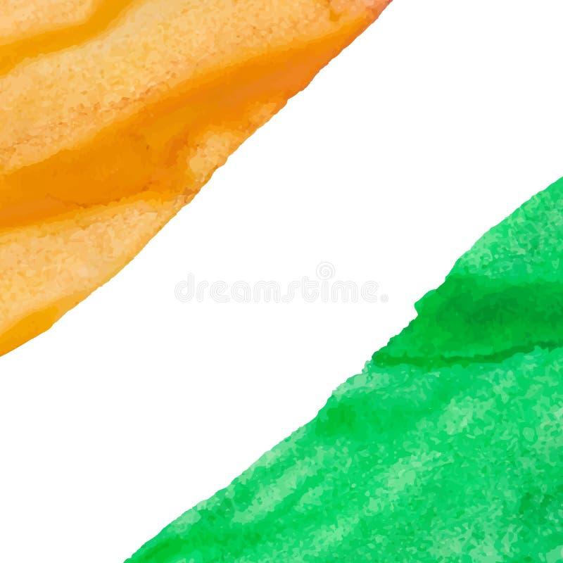 Fondo arancio e verde dell'acquerello dei colpi immagini stock libere da diritti