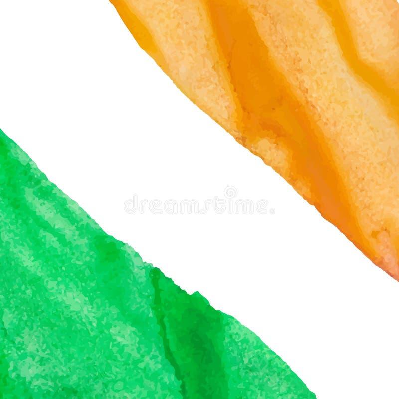 Fondo arancio e verde dell'acquerello dei colpi fotografie stock