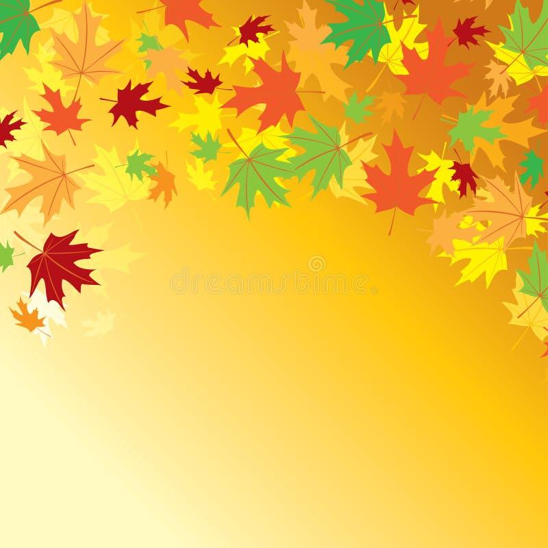 Fondo arancio luminoso - vector le foglie di autunno variopinte royalty illustrazione gratis