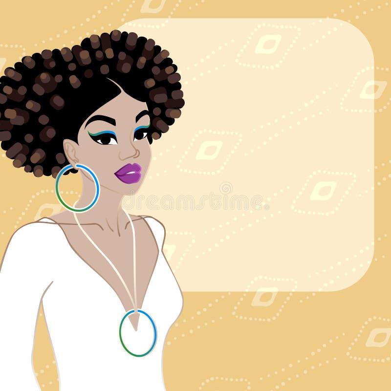Fondo arancio pallido con la donna dalla carnagione scura royalty illustrazione gratis