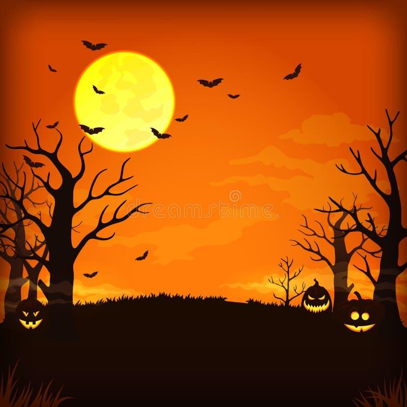 Fondo arancio spettrale di notte con la luna piena, le nuvole, i pipistrelli, gli alberi nudi e le zucche illustrazione vettoriale