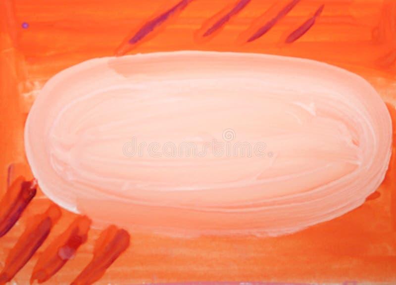 Fondo arancio vago estratto dell'acquerello con la macchia e le linee bianche illustrazione vettoriale