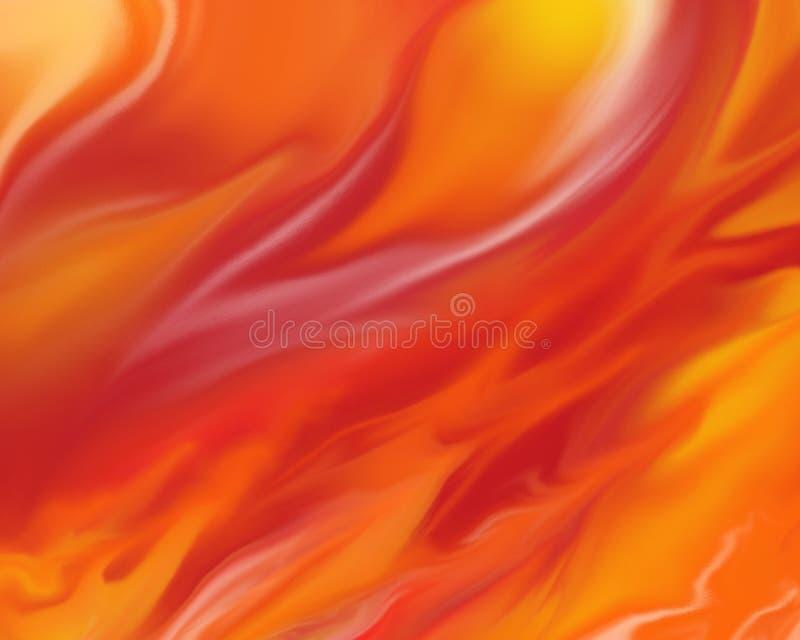Fondo ardiente del fuego con las llamas en anaranjado rojo y amarillo brillantes ilustración del vector