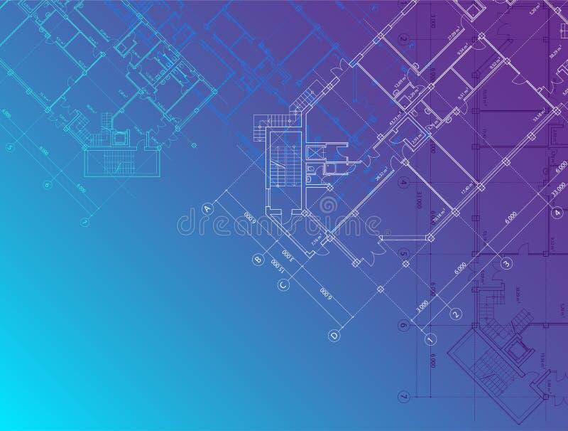 Fondo arquitectónico azul horizontal stock de ilustración