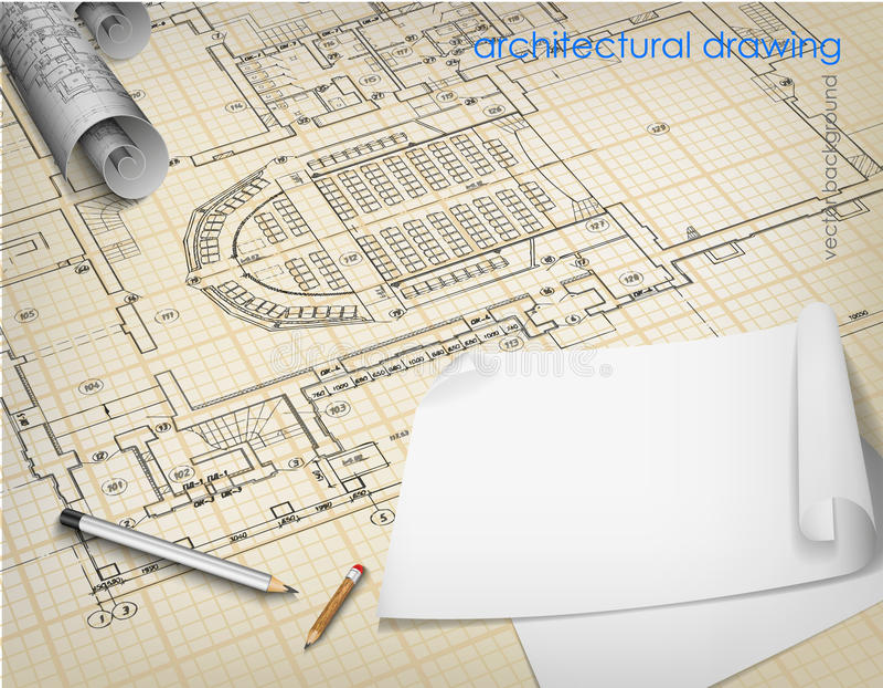 Fondo arquitectónico que dibuja letras técnicas stock de ilustración
