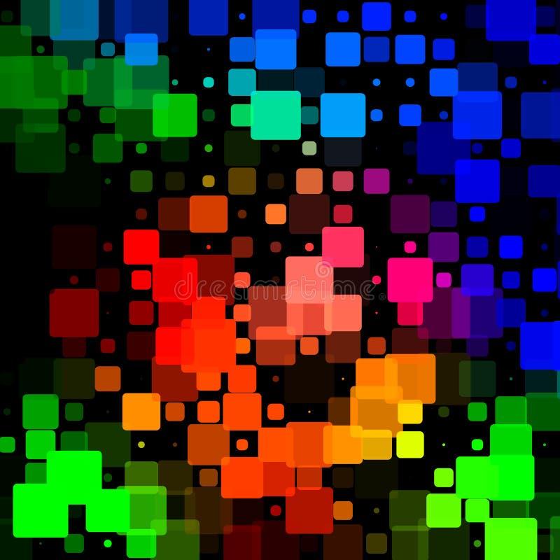 Fondo arrotondato d'ardore delle mattonelle di rossi carmini verde blu neri royalty illustrazione gratis