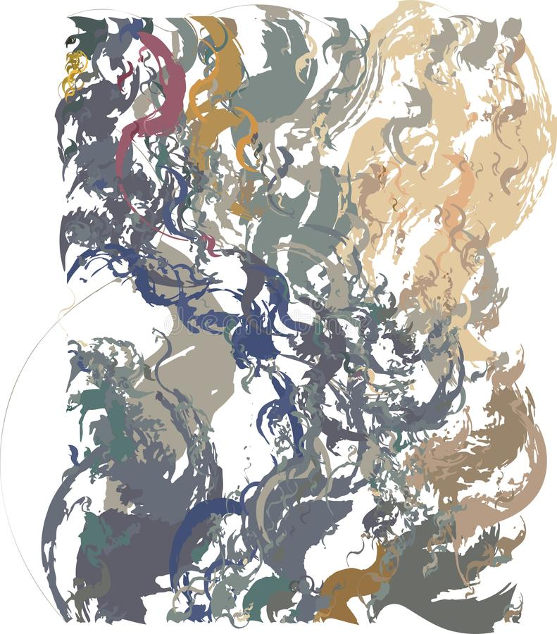 Fondo artístico abstracto con transiciones del color de ocre a azul-gris con el uso de elementos decorativos en el estilo de la h ilustración del vector