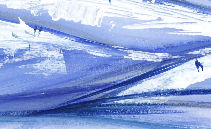 Fondo artístico abstracto Puntos azules y blancos Pintado en el ejemplo del papel stock de ilustración