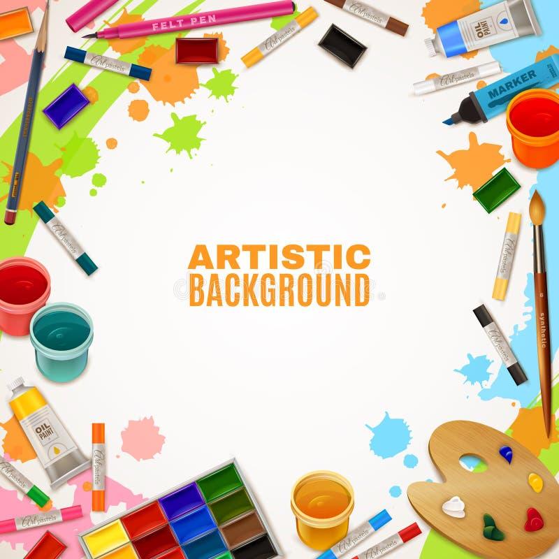 Fondo artístico con las herramientas para las pinturas stock de ilustración