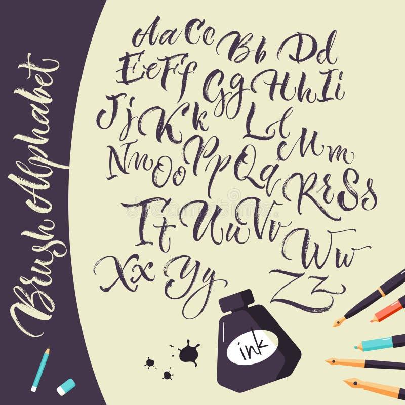 Fondo artístico con las plumas y alfabeto de la tinta libre illustration