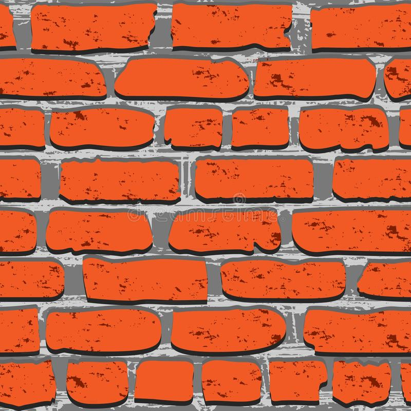 Fondo artístico de la pared de piedra roja. Modelo incons?til. Textura repetida de ladrillos. Plantilla para el dise?o stock de ilustración