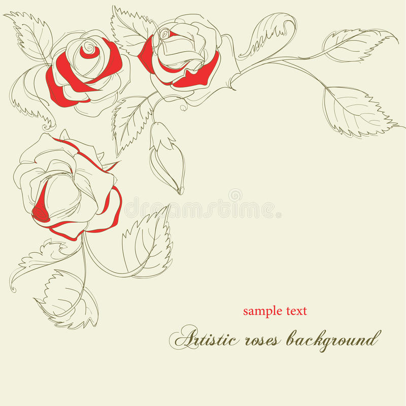 Fondo artístico de las rosas stock de ilustración